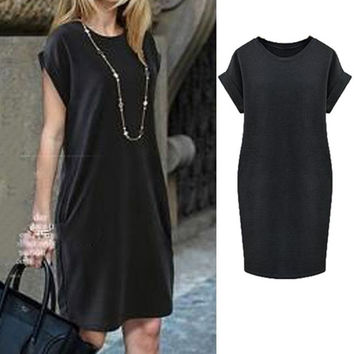 New 2015 Women Summer Dress Casual Fashion European Round Neck Short Sleeve Elegant Dress Plus Size vestidos = 1714507332