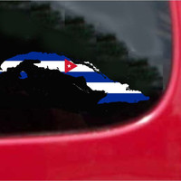 Cuba Outline Map Flag Vinyl Decal Sticker Full Color/Weather Proof.