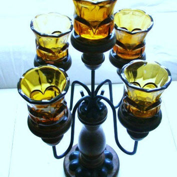 Vintage wooden and Iron Candelabra with 5 amber Tulip Votives / Fluted Votives candle holders
