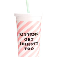 SIP SIP TUMBLER WITH STRAW - TICKET STRIPE