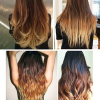 """Toffee Cappuccino Ombre Hair,Dark Brown with a slow fade to caramel and toffee, 18"""", Custom Your Color"""