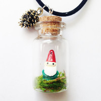Gnome Moss Terrarium Necklace with Golden Pinecone Charm on Black Velvet Cord, Woodland, Woodsy, Fairytale