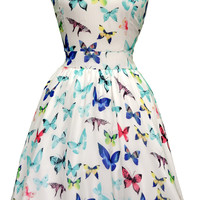 Summer Butterfly Chiffon Tea Dress