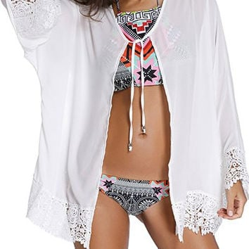 Eagle Print Back Lace Trim Sunscreen Cover-Up