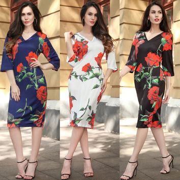 Sexy Print Dress Women's Fashion One Piece Dress [10016924365]