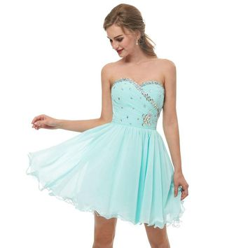 Mint Green Homecoming Dresses Strapless Sweetheart Crystal Beaded Bodice Pleats Chiffon Short Graduation Gowns