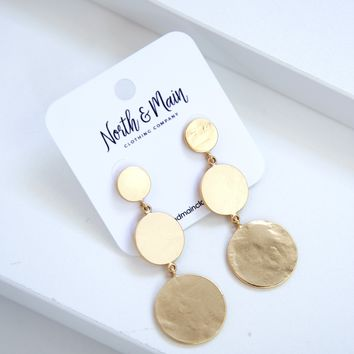 Triple Circle Drop Earrings, Gold