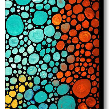 Mosaic Art Print from Abstract Painting Yellow Red Orange Aqua CANVAS Ready To Hang Large Artwork Stained Glass Look Stones Original Pattern