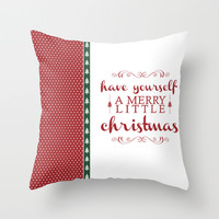 A Merry Little Christmas Throw Pillow by Rose's Creation