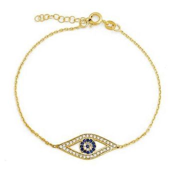 925 Silver Gold Plated Simulated Sapphire CZ Evil Eye Bracelet
