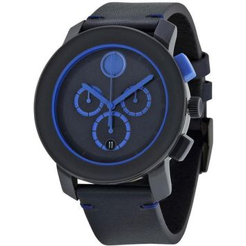 Movado 3600349 Bold Leather Chronograph Mens Watch Blue Dial