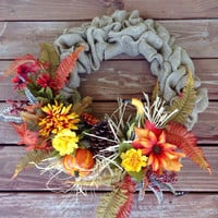 Burlap Wreath, Fall Wreath, Burlap Fall Wreath, Front Door Wreath