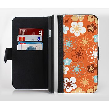 The Orange Vector Floral with Blue Ink-Fuzed Leather Folding Wallet Credit-Card Case for the Apple iPhone 6/6s, 6/6s Plus, 5/5s and 5c