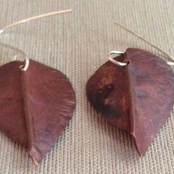 Copper Earrings Leaf Textured Fold Form Earrings