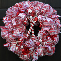 Candy Cane Christmas Deco Mesh Wreath