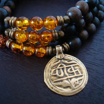 Men's Baltic Amber Mala Necklace or Wrap Bracelet - Good Health Mantra Coin - Yoga, Buddhist, Meditation, Prayer Beads, Jewelry