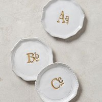 Gilded Superscript Monogram Coaster by Anthropologie in Gold Size: