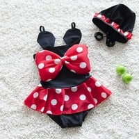 2017 Swimwear Kids Girl One Piece Swimsuit Baby Girls Bathing Suits Cute Polka Dot Swimming Suit For Children Swimsuit With Cap