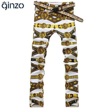Men's Slim Colored Drawing Flower Print Jeans Male Gold Lion Painted Denim Pants Trousers Free Shipping