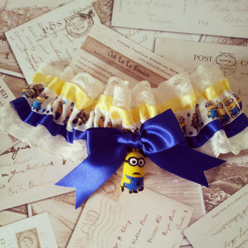 Minion Garter, Despicable Me, Wedding Garter, Geek Garter, Super Villain, Geek chic,  Universal Pictures, Geek, Alternative, Offbeat