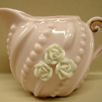 Norcrest Japan Pink White Roses Creamer Beaded L-218 Porcelain Mid Century