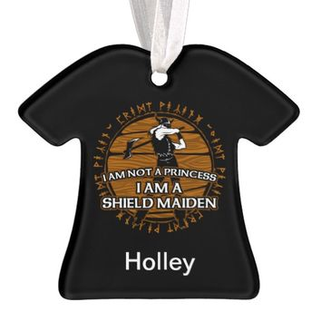 Personalized Viking Shield Maiden With Ax Runes Ornament