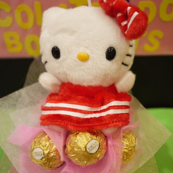 Hello Kitty plush mini flower bouquet with Ferrero Rocher chocolates. Valentine's day gift idea!