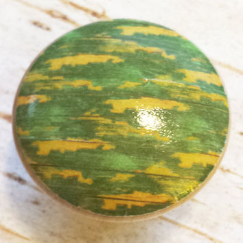 Distressed Wood Knob Drawer Pulls, Green Yellow Chipped Paint Style, Camo, Old Wood Cabinet Handles,  Reclaimed Wood, Made To Order, Style 7