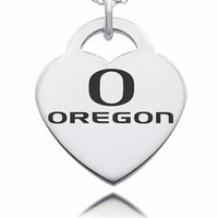 Sterling Silver Oregon Ducks Heart Charm