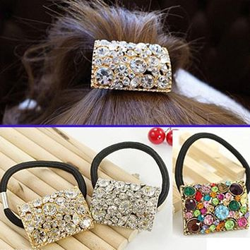 Fashion Exquisite Crystal Hair Bands Square Shape Decoration Headwear Rhinestone Elastic Hair Rope Ponytail Holder Hairband HOT