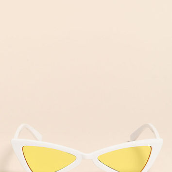 White and Yellow Colored Geometric Sunglasses