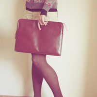 VIntage Oversized Leather Clutch Handbag Purse Genuine Leather / tan brown / thick strong leather