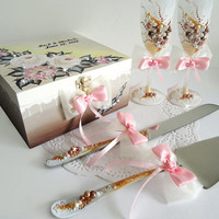 Beautiful Hand Decorated  Wedding Anniversary Cake and Knife Servers Ivory Gold Beige Brown WhiteBeads  by Elena Joliefleur