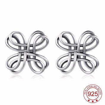 YFN 925 Sterling Silver Celtic Knot Vintage Retro Stud Earrings Lucky Knot Fashion Jewelry For Women