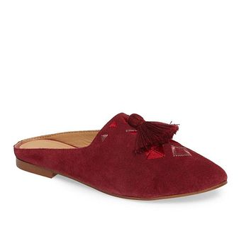 Soludos Women's Wine Embroidered Palazzo Loafer Mule