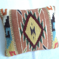 Small bohemian pillow/ vintage Aztec woven pillow/ boho decor southwest/ Native design earthy colors throw pillow