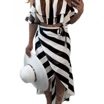 Black-White Striped Bandeau Sashes Cascading Ruffle Off Shoulder Maxi Dress