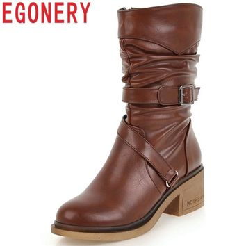 EGONERY woman fashion mid calf boots ladies buckle shoes good quality round toe 3 color black brown winter new style footwear