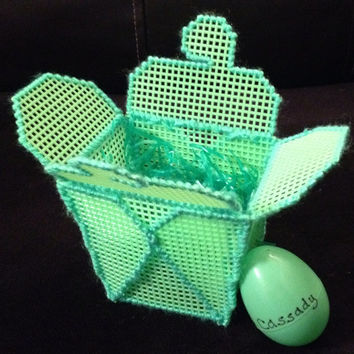 Green Plastic Canvas Takeout Box with Matching Personalized Egg