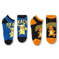 Pokemon Women's Pikachu Charmander Ankle Socks 2-pack