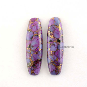 Copper Purple Turquoise Wholesale Loose Gemstone Flat Back Cabochon Long Fancy Rectangle Pair 10x35 mm