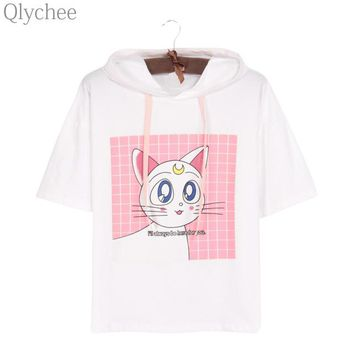 Tops and Tees T-Shirt Qlychee Japan Anime Sailor Moon White T-shirt Luna Cat Ear Hoodie T shirt Half Sleeve Cartoon Print Casual Top Tee for Women AT_60_4 AT_60_4