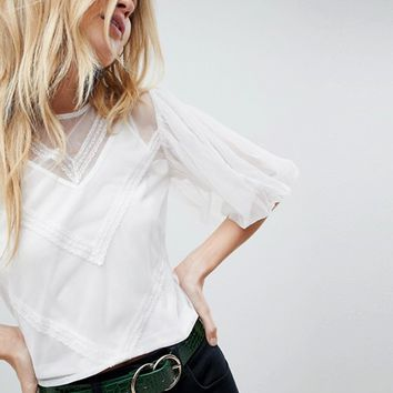 ASOS Mesh Top with Puff Sleeve and Lace Trim at asos.com