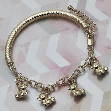 Gold Layered Women Teddy Bear Charm Bracelet, by Folks Jewelry