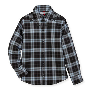 Givenchy Long-Sleeve Checkered Star Button-Down Shirt, Size 4-5 and Matching Items