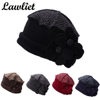e2db1c99987 Flower waves trimmed Womens Wool Beanie Cap Dress Crochet Winter Hat Ladies  Warm Beret Hats Church