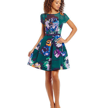 Taylor Mixed Media Floral Party Dress | Dillards