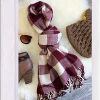 Plaid Out Scarf- Red