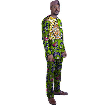 Private custom festival africa clothing men print tops+trousers patchwork african clothes for men long sleeve tops and pant sets