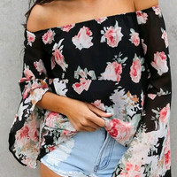Off Shoulder Chiffon Print Blouse